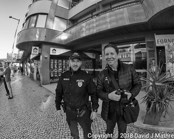 Poliza & Steve Discussing Street Photography in Lisbon. Image taken with a Nikon D850 camera and 8-15 mm fisheye lens. (DAVID J MATHRE)