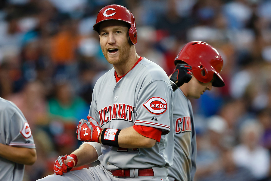 Jun 16, 2015; Detroit, MI, USA; Cincinnati Reds third baseman Todd Frazier (21) receives congratulations from designated hitter Jay Bruce (32) after he hits a home run in the seventh inning against the Detroit Tigers at Comerica Park. Mandatory Credit: Rick Osentoski-USA TODAY Sports (Rick Osentoski/Rick Osentoski-USA TODAY Sports)