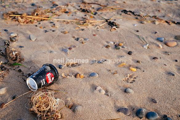 Spurn Head, Spurn, East Yorkshire, United Kingdom, 06 December, 2014. Pictured: Bovril cup Spurn beach (Neil Holmes)