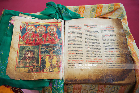 Ancient Bible in Amharic language in the church of Our Lady Mary of Zion, the most sacred place for all Orthodox Ethiopians. Aksum, Ethiopia. (Dmitry Chulov)