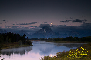 "Moon over Oxbow Bend at sunrise in Grand Teton National Park (© Daryl Hunter's ""The Hole Picture""/Daryl L. Hunter)"