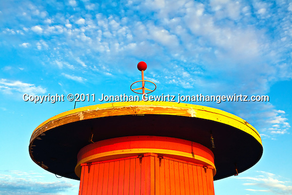 A lifeguard hut on South Miami Beach just before sunrise. (Copyright 2011 Jonathan Gewirtz jonathan@gewirtz.net)