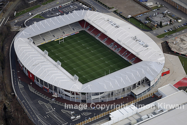 Aerial view of Langtree Park, home of St Helens RLFC. Photo by Simon Kirwan