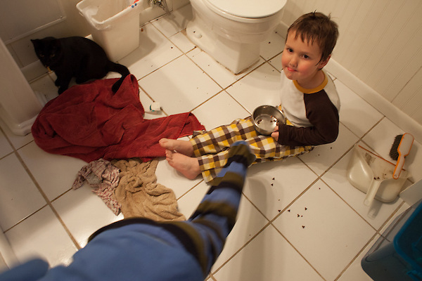 I like the idea of saying yes to requests and creative ideas, and sometimes regret my optimistic idealism. The boys floating a Lego creation in the bathroom sink while I made dinner led to maniacal laughter, screaming and water on the walls. (Kristen Schmid)