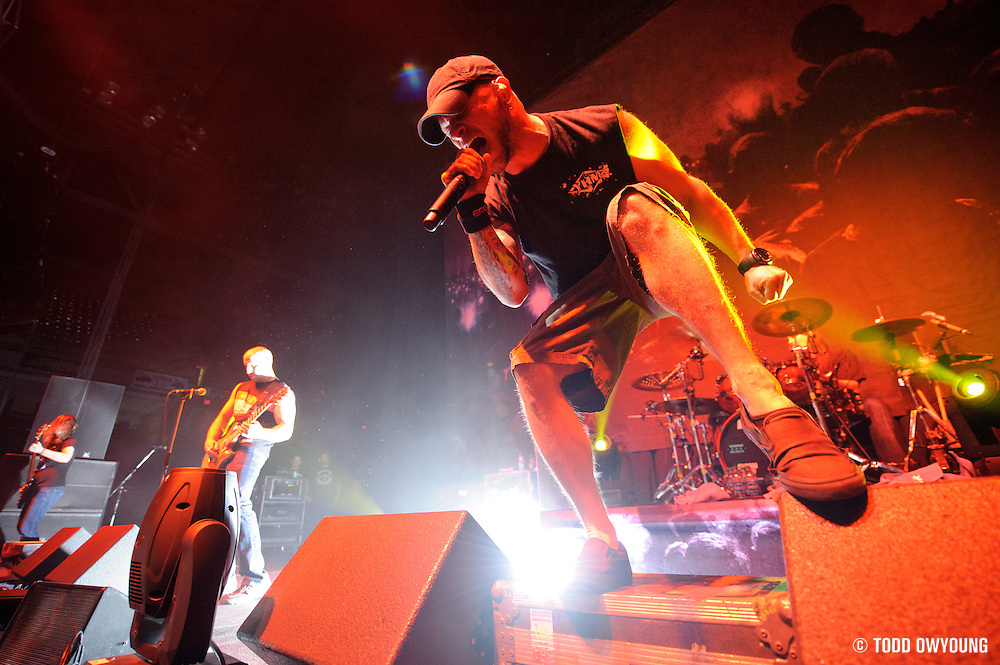 All That Remains performing at the Family Arena in St. Charles, MO support of Five Finger death Punch on october 31, 2011. (Todd Owyoung)