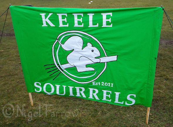 08 MAR 2015 - NOTTINGHAM, GBR - The team banner for Keele Squirrels at the 2015 British Quidditch Cup at Woollaton Hall and Deer Park in Nottingham, Great Britain (PHOTO COPYRIGHT © 2015 NIGEL FARROW, ALL RIGHTS RESERVED) (NIGEL FARROW/COPYRIGHT © 2015 NIGEL FARROW : www.nigelfarrow.com)