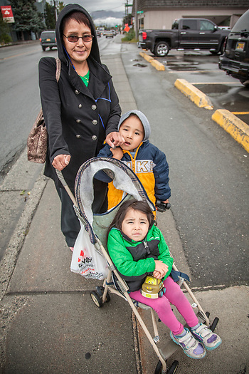 Mary Jo Trigg with grandkids Aurthur (4) and Athena (3) on Fireweed Lane in midtown Anchorage.  808mjtrigg907@gmail.com (© Clark James Mishler)