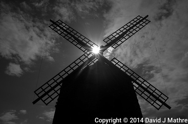 Sunburst at the Aixerrota Windmill in Getxo, Spain. Image taken with a Leica X2 camera (ISO 100, 24 mm, f/16, 1/2000 sec). In camera B&W. (David J Mathre)