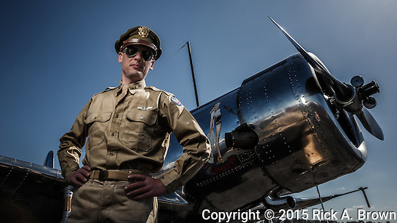 Capt. Miller and a Vultee BT-13 at Warbirds Over the West. (Rick A. Brown)
