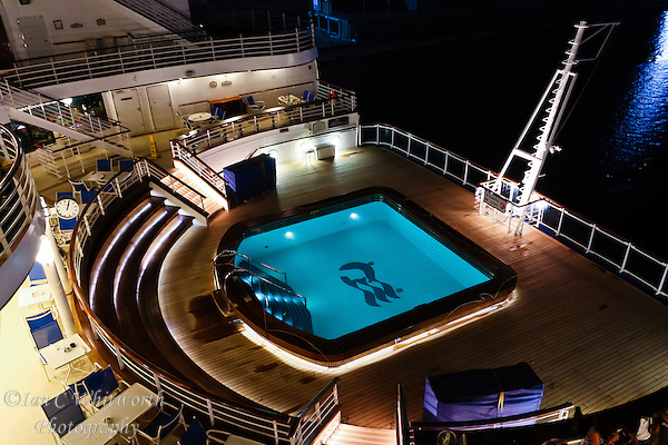 The Ruby Princess stern pool at night after shut down (Ian C Whitworth)