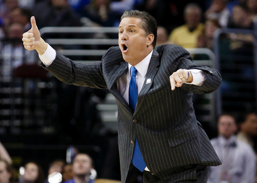 Mar 28, 2015; Cleveland, OH, USA; Kentucky Wildcats head coach John Calipari reacts against the Notre Dame Fighting Irish in the finals of the midwest regional of the 2015 NCAA Tournament at Quicken Loans Arena. Mandatory Credit: Rick Osentoski-USA TODAY Sports (Rick Osentoski/Rick Osentoski-USA TODAY Sports)