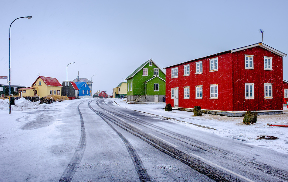 EYRABAKKI, ICELAND - CIRCA MARCH 2015: Colorful houses of Eyrarbakki, a fishing village on the south coast of Iceland with a population of about 570 people. (Daniel Korzeniewski)