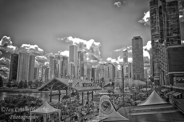 Looking across the top of Navy Pier in black and white with the city of Chicago in the background. (Ian C Whitworth)