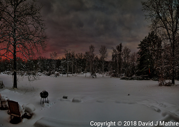 Dawn view out my patio door after the Nor'easter storm. Composite of six images taken with a Nikon D810a camera and 14-24 mm f/2.8 lens (ISO 200, 24 mm, f/5.6, 1/30 sec). Raw images processed with Capture One Pro and AutoPano Giga Pro. (David J Mathre)