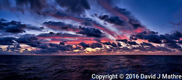 Colorful Dawn Panorama at Sea from the Aft Deck of the MV World Odyssey While Crossing the Pacific Ocean. Composite of 10 images taken with a Fuji X-T1 camera and 23 mm f/1.4 lens (ISO 400, 23 mm, f/4, 1/60 sec). Raw images processed with Capture One Pro and AutoPano Giga Pro. (David J Mathre)