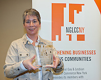 The NGLCCNY presented the First Annual Social Enterprise Award to HIV Law Project. The award was accepted by Tracy L. Welsh, JD, MPH Executive Director of the HIV Law Project. The award ceremony took place at the 19th Annual GLBT Expo on March 17-18, 2012 at the Jacob Javits Center in New York. (Jeffrey Holmes/JeffreyHolmes.com)