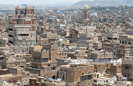 SANAA, YEMEN - SEPTEMBER 09, 2006: Aerial view of the Sanaa city in Sanaa, Yemen. The old city of Sanaa is declared a UNESCO World heritage site. (Dmitry Chulov)