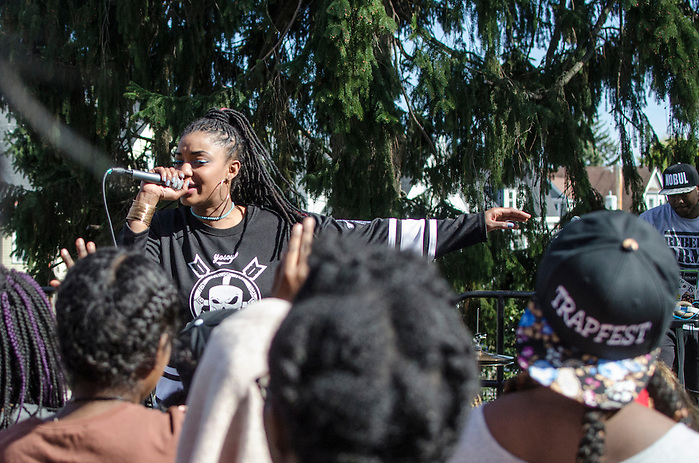 4/29/16 – Medford/Somerville, MA – Dutch ReBelle, a Boston-based MC, performs at the Trapfest 2016 hosted by the Tufts University Africana center on Apr. 29th, 2016. (Jiaxun Li / The Tufts Daily) (Jiaxun Li)