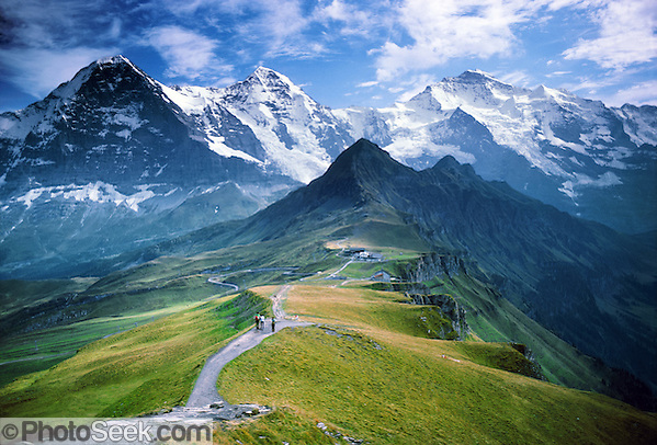 From Mannlichen, view Eiger, Monch, Jungfrau, Grindelwald Valley, Lauterbrunnen Valley, Switzerland, Alps, Europe.