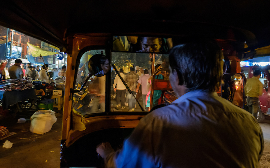 NEW DELHI, INDIA - CIRCA OCTOBER 2016: Tuk Tuk driver in the streets of Chandni Chowk in Old Delhi. (Daniel Korzeniewski)