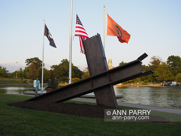 East Meadow, New York, USA. Summer 2017. Eisenhower Park pond area, with Nassau County Eisenhower Park September 11, 2001 Memorial on west side of pond and War Memorials on east side of pond. (Ann Parry/Ann Parry, ann-parry.com)