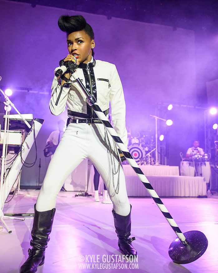 "WASHINGTON, DC - October 14th, 2013 - Grammy Award nominee Janelle Monae performs at the Lincoln Theater in Washington, D.C. Monae's performance included a cover of The Jackson 5's ""I Want You Back"" as well as her singles ""Tightrope"" and ""Q.U.E.E.N."" (Photo by Kyle Gustafson / For The Washington Post) (Kyle Gustafson/For The Washington Post)"