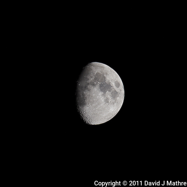 Waxing Gibbous Moon (75%). Autumn Night in New Jersey. Image taken with a Nikon D3s and 600 mm f/4 VR lens. (ISO 200, 600 mm, f/4, 1/800 sec). (David J Mathre)