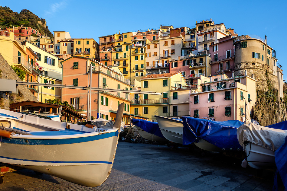 MANAROLA, ITALY - CIRCA MAY 2015: Boats in the port Manarola in Cinque Terre, Italy. (Daniel Korzeniewski)