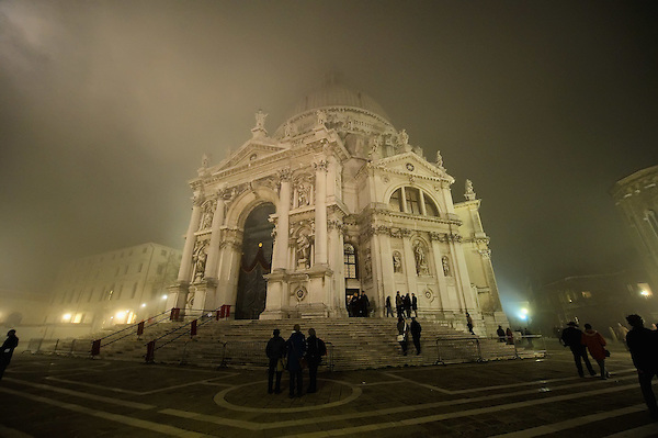 VENICE, ITALY - NOVEMBER 20:  The church of Santa Maria della Salute is seen as thick fog shrouds the city, on November 20, 2011 in Venice, Italy. Venice woke up this morning under a heavy blanket of fog adding to the atmosphere of the city.  HOW TO LICENCE THIS PICTURE: please contact us via e-mail at sales@xianpix.com or call our offices London   +44 (0)207 1939846 for prices and terms of copyright. First Use Only ,Editorial Use Only, All repros payable, No Archiving.© MARCO SECCHI (Marco Secchi)