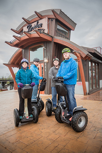 Betty, Chad, Don and Sheron in front of the Bridge Restaurant during their Segway tour of downtown Anchorage  chad@bearsquare.net (© Clark James Mishler)
