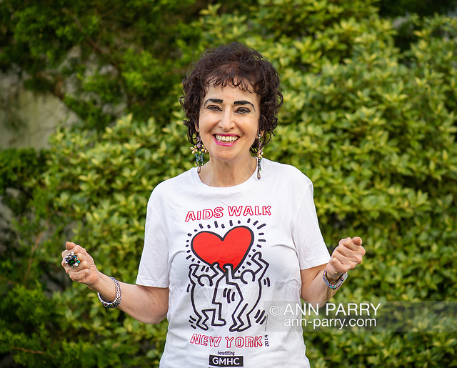 """""""Merrick, NY, USA. May 3, 2018. Francine Goldstein looks forward to her 30th year of participating in AIDS WALK NEW YORK, a fundraising walk and run in Central Park on May 20, 2018, benefiting Gay Men's Health Crisis (GMHC). Goldstein has raised over $500,000 from sponsors over the years, and currently is the 2018 2nd highest fundraiser. (© 2018 Ann Parry/AnnParry.com)"""