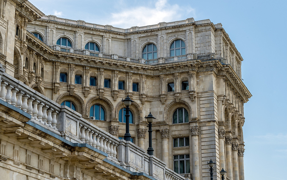 Architectural detail of  Palace of Parliament in Bucharest. (Daniel Korzeniewski)