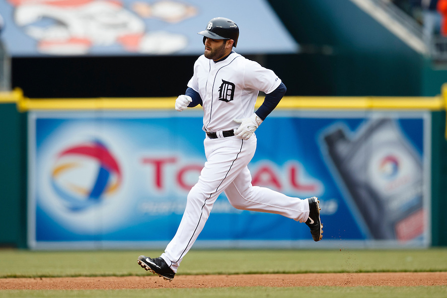 Apr 6, 2015; Detroit, MI, USA; Detroit Tigers catcher Alex Avila (13) runs the base after he hits a two run home run in the second inning against the Minnesota Twins at Comerica Park. Mandatory Credit: Rick Osentoski-USA TODAY Sports (Rick Osentoski/Rick Osentoski-USA TODAY Sports)