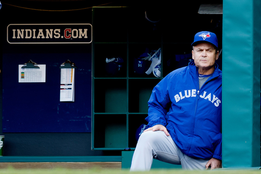 May 1, 2015; Cleveland, OH, USA; Toronto Blue Jays manager John Gibbons (5) watches from the dugout during the first inning against the Cleveland Indians at Progressive Field. Mandatory Credit: Rick Osentoski-USA TODAY Sports (Rick Osentoski/Rick Osentoski-USA TODAY Sports)