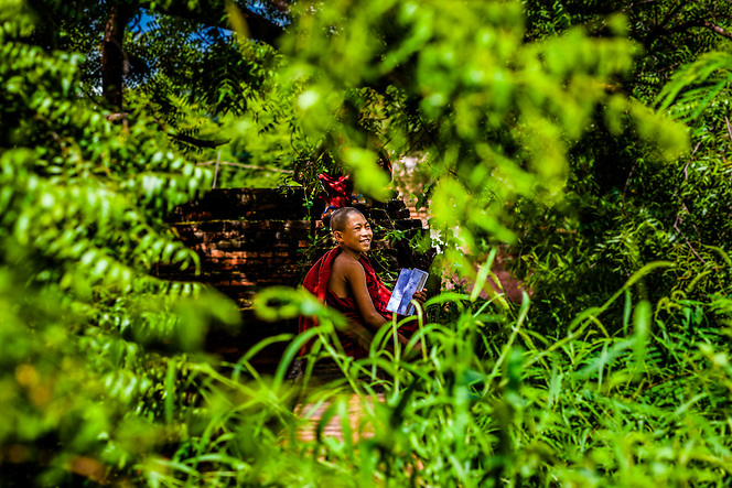 A Novice monk studies, Bagan, Myanmar (Quinn Ryan Mattingly)