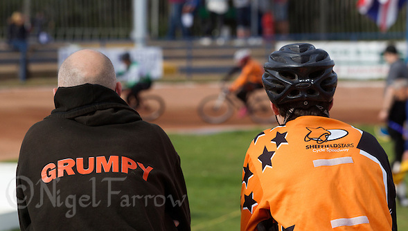 13 SEP 2014 - IPSWICH, GBR - Luke Morton (left) and a Sheffield Stars team mate watches a heat during the Minor Final at the 2014 British Open Club Cycle Speedway Championships at Whitton Sports & Community Centre in Ipswich, Great Britain (PHOTO COPYRIGHT © 2014 NIGEL FARROW, ALL RIGHTS RESERVED) (NIGEL FARROW/COPYRIGHT © 2014 NIGEL FARROW : www.nigelfarrow.com)