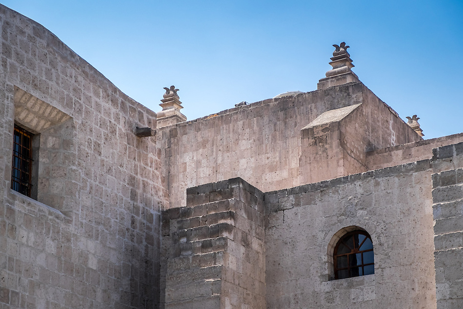 AREQUIPA, PERU - CIRCA APRIL 2014: Exterior walls of the San Francisco Monastery in Arequipa. Arequipa is the Second city of Perú by population with 861,145 inhabitants and is the second most industrialized and commercial city of Peru. (Daniel Korzeniewski)