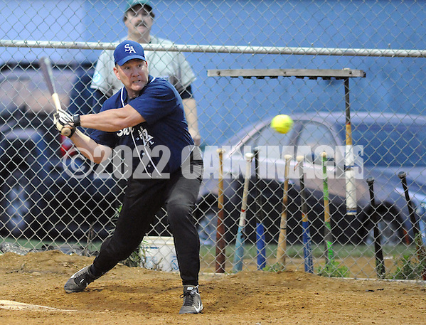 "Shir Ami's """""""" Cohen at bat against Ohev Shalom during a Delaware Valley Synagogue League modified fast pitch softball playoff game Monday August 1, 2016 in Southampton, Pennsylvania. (Photo by William Thomas Cain) (William Thomas Cain)"