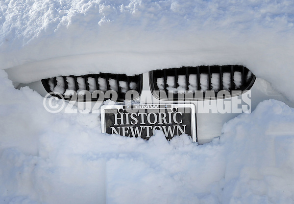 A vehicle remains snow covered as the region cleans up after Winter Storm Jonas Sunday January 24, 2016 in Newtown, Pennsylvania. (Photo by William Thomas Cain) (William Thomas Cain/Cain Images)