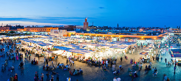 Panoramic photo of Djemaa El Fna Square at night, Marrakech (Marrakesh), Morocco, North Africa