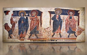 Romanesque frescoes of the Apostles from the church of Sant Roma de les Bons, painted around 1164, Encamp, Andorra. National Art Museum of Catalonia, Barcelona. MNAC 15783 (Paul E Williams)