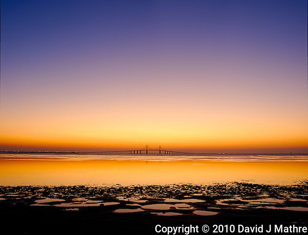 Sunshine Skyway Bridge Panorama at Dawn from Fort De Soto Park. St. Petersburg, Florida. Composite of 3 vertical images taken with an Nikon D3s and 45 mm f/2.8 PC-E lens (ISO 200, f/11, 0.5 sec). Images processed with DxO, AutoPano Giga, Photoshop CS5, and Topaz Define. (David J Mathre)