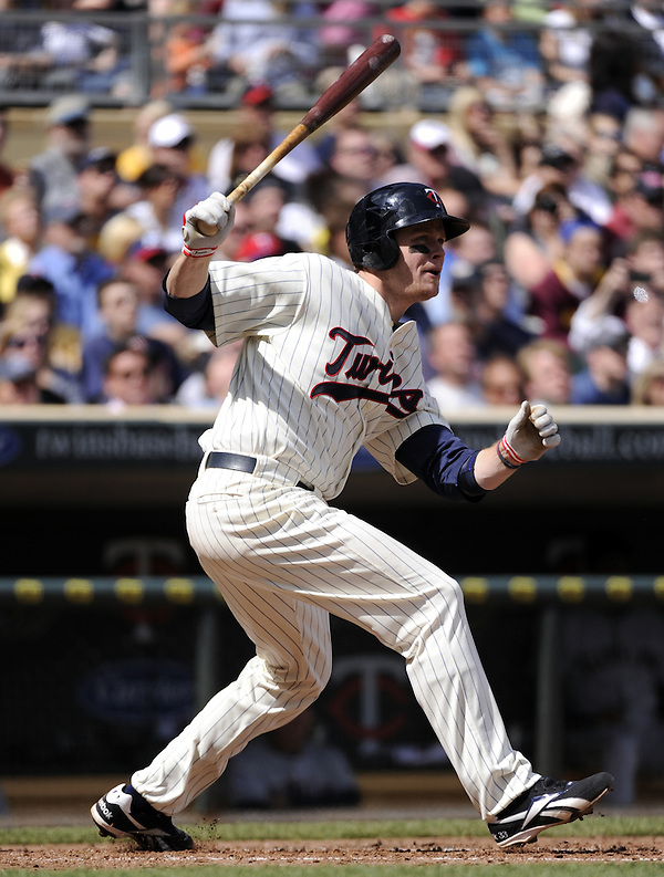 MINNEAPOLIS - APRIL 24:  Justin Morneau #33 of the Minnesota Twins bats against the Cleveland Indians on April 24, 2011 at Target Field in Minneapolis, Minnesota.  The Twins defeated the Indians 4-3.  (Photo by Ron Vesely)  Subject:  Justin Morneau (Ron Vesely)