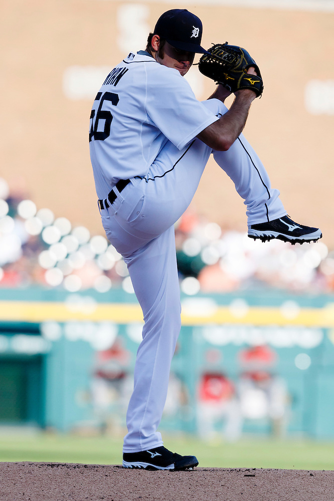 Jun 16, 2015; Detroit, MI, USA; Detroit Tigers relief pitcher Kyle Ryan (56) warms up before the first inning against the Cincinnati Reds at Comerica Park. Mandatory Credit: Rick Osentoski-USA TODAY Sports (Rick Osentoski/Rick Osentoski-USA TODAY Sports)
