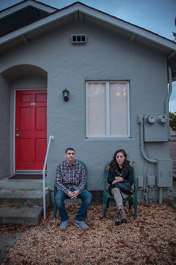 Nick Regalla in front of his house with his friend, Jenny Ramano, Calistoga, CA  jennyramano69@yahoo.com (© Clark James Mishler)