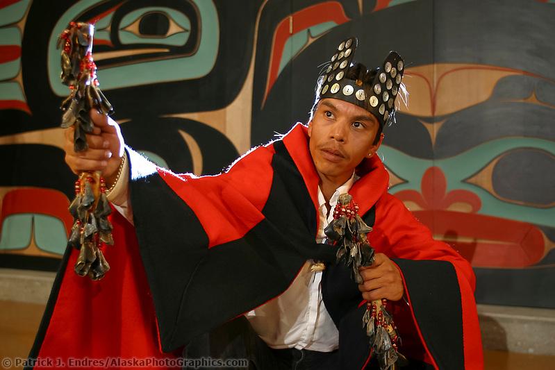 Sitka photos: Sheet'ka Kwaan Naa Kahidi dancers perform at the Tlingit, Sitka Tribe of Alaska Community House in Sitka, Alaska (Patrick J. Endres / AlaskaPhotoGraphics.com)