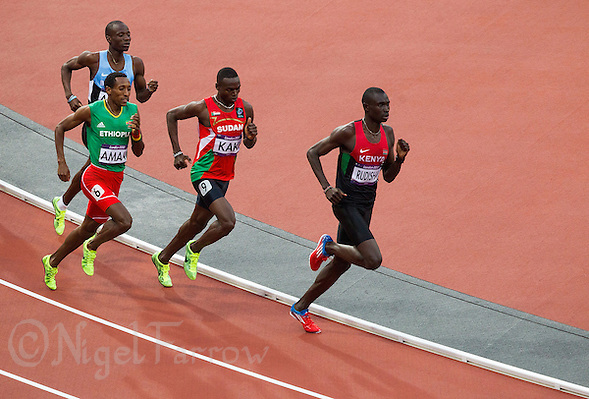 09 AUG 2012 - LONDON, GBR - David Rudisha (KEN) (right) of Kenya leads the men's 800m final during the London 2012 Olympic Games athletics in the Olympic Stadium, Stratford, London, Great Britain .(PHOTO (C) 2012 NIGEL FARROW) (NIGEL FARROW/(C) 2012 NIGEL FARROW)