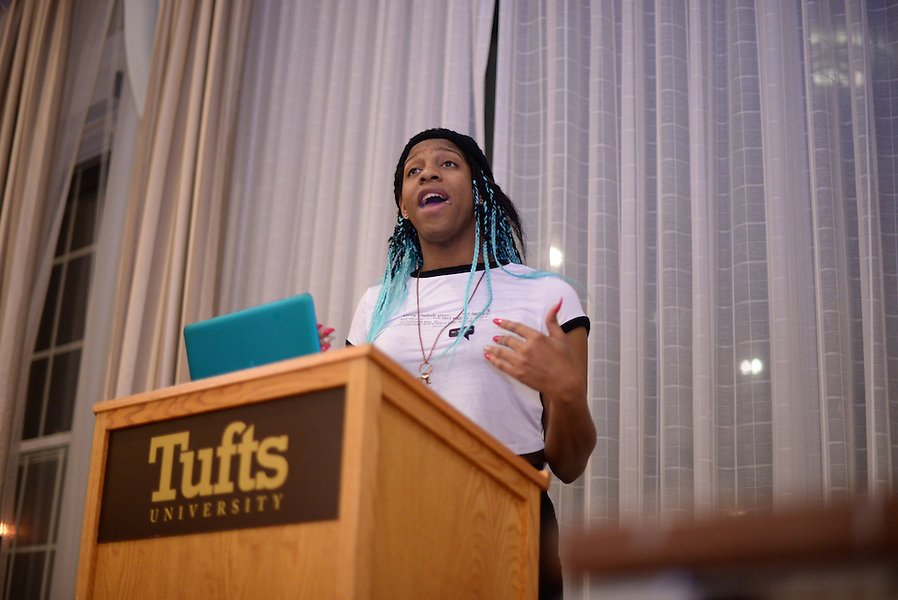 3/8/16 – Medford/Somerville, MA –CeCe Mcdonald speaks at the opening event of the #BlackExcellenceTour in the Alumnae Lounge as the second event of Israeli Apartheid Week on March 8, 2016. (Sofie Hecht / The Tufts Daily) (Sofie Hecht / The Tufts Daily)