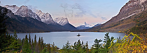Snow covered peaks above St. Marys Lake in Glacier National Park at sunrise (Daryl Hunter's &quot;The Hole Picture&quot;  Daryl L. Hunter has been photographing the Yellowstone Region since 1987, when he packed up his view camera, Pentex 6X7, and his 35mms and headed to Jackson Hole Wyoming. Besides selling photography Daryl also publ)