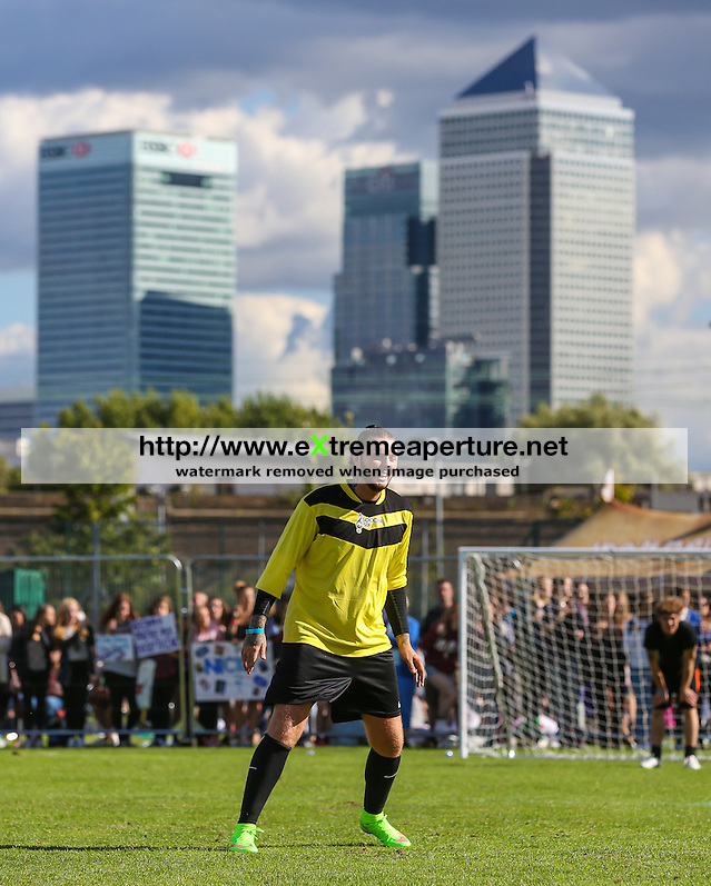 London, UK on Sunday 31st August, 2014. James Arthur with Canary Wharf in the background during the Soccer Six charity celebrity football tournament at Mile End Stadium, London. (David Horn/EAP)